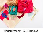 korean traditional gift box on... | Shutterstock . vector #673486165
