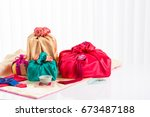 asian traditional gift box on... | Shutterstock . vector #673487188