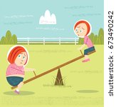 obese child on see saw | Shutterstock .eps vector #673490242