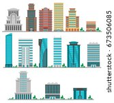 city modern flat buildings | Shutterstock .eps vector #673506085