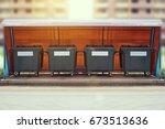 old green plastic garbage bin.... | Shutterstock . vector #673513636
