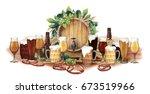 watercolor barrel of beer... | Shutterstock . vector #673519966