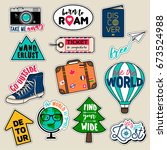 set of fashion patches  cute... | Shutterstock .eps vector #673524988