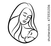 mother with baby. stylized... | Shutterstock . vector #673531336