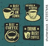 retro vintage coffee labels... | Shutterstock .eps vector #673557646