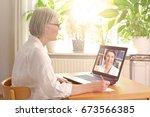 senior woman in her sunny... | Shutterstock . vector #673566385