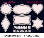 collection of lace doilies and... | Shutterstock .eps vector #673570282