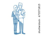couple students girl and guy... | Shutterstock .eps vector #673571815