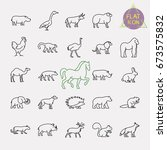 animals line icons set | Shutterstock .eps vector #673575832