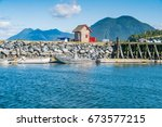 tofino on the west coast of... | Shutterstock . vector #673577215