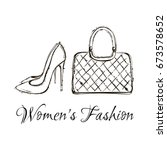hand drawn graphic women items... | Shutterstock .eps vector #673578652