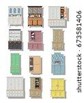 vector set of cupboards  croft... | Shutterstock .eps vector #673581406