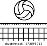 volleyball outline icon  | Shutterstock .eps vector #673595716