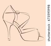 elegant sketched woman s shoe.... | Shutterstock . vector #673595998