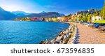 lago di garba town of torbole... | Shutterstock . vector #673596835