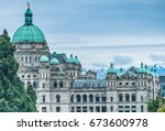 the british columbia parliament ... | Shutterstock . vector #673600978