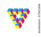impossible triangle in cmy... | Shutterstock .eps vector #673621636