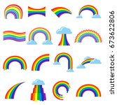 rainbow icon and pictogram set. ... | Shutterstock .eps vector #673622806