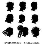 set of african man face... | Shutterstock .eps vector #673623838