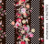 exotic floral seamless pattern. ... | Shutterstock . vector #673627072