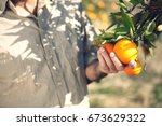 midsection of farmer holding... | Shutterstock . vector #673629322