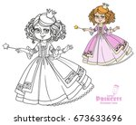 beautiful little princess with... | Shutterstock .eps vector #673633696
