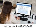 rear view of a businesswoman...   Shutterstock . vector #673636432