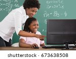 smiling african teacher... | Shutterstock . vector #673638508