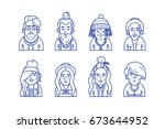 hipsters line avatars male and... | Shutterstock .eps vector #673644952