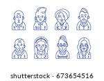 hipster male and female line... | Shutterstock .eps vector #673654516