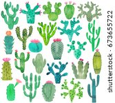 watercolor cactus set | Shutterstock .eps vector #673655722