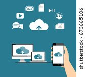 uploading to the internet cloud | Shutterstock .eps vector #673665106