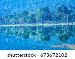 landscape view of huay tueng...   Shutterstock . vector #673672102