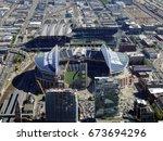 seattle   june 25  aerial view... | Shutterstock . vector #673694296