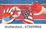 north korea x south korea  usa  ... | Shutterstock . vector #673694866