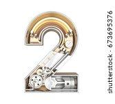 mechanic alphabet  number 2 on... | Shutterstock . vector #673695376