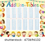addition tables chart with kids ... | Shutterstock .eps vector #673696132