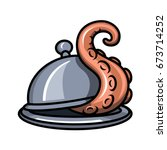 the tentacle crawls out from... | Shutterstock .eps vector #673714252