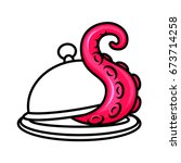 the tentacle crawls out from... | Shutterstock .eps vector #673714258