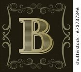 alphabet vintage font and...   Shutterstock .eps vector #673737346