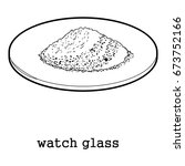watch glass icon in outline... | Shutterstock .eps vector #673752166