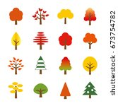 tree icon set  autumn leaves | Shutterstock .eps vector #673754782