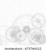 drawing gears on a white... | Shutterstock .eps vector #673764112