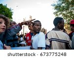 immigrants march in rome asking ... | Shutterstock . vector #673775248