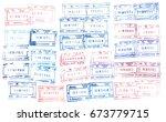 russian passport stamps | Shutterstock . vector #673779715