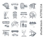 Set Of Thin Line Icons Freight...