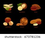 nut set. ripe nuts and seeds... | Shutterstock .eps vector #673781236