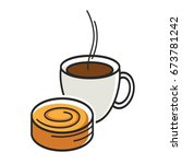 cup of coffe with steam and... | Shutterstock .eps vector #673781242