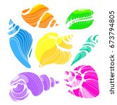 Set Of Silhouettes Of Seashell...
