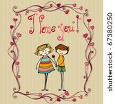 vector illustrated cute couple... | Shutterstock .eps vector #67380250